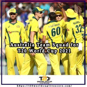 Australia Team Squad for ICC Men's T20 World Cup 2021