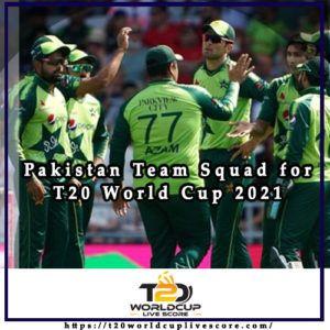 Pakistan Team Squad for ICC Men;s T20 World Cup 2021