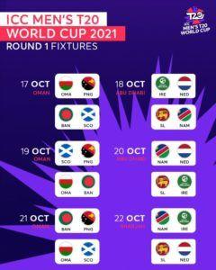ICC Men's T20 World Cup Round 1 Fixtures