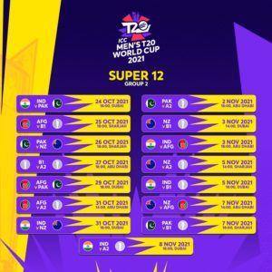 ICC Men's aT20 World Cup Super 12 Group 2 Fixtures