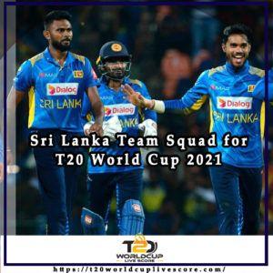 Sri Lanka Team Squad for ICC Men's T20 World Cup 2021 Players List