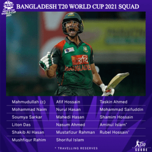 Bangladesh Team Squad for ICC Men's T20 World Cup 2021 Players List