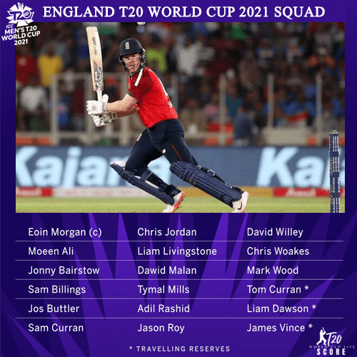 England Team Squad for ICC Men's T20 World Cup 2021 Players List