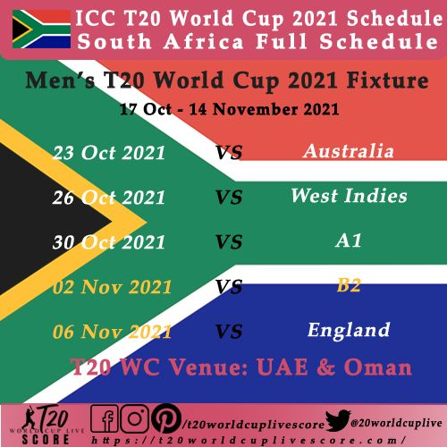 ICC Men's T20 World Cup 2021 South Africa Schedule Matches Head to Head