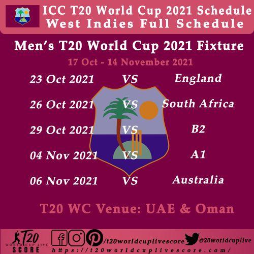 ICC Men's T20 World Cup 2021 West Indies Schedule Matches Head to Head