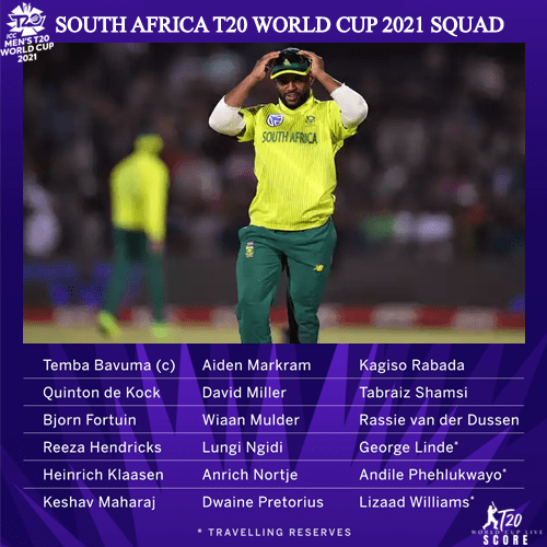 South Africa Team Squad for ICC Men's T20 World Cup 2021 Players List